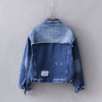 Куртка жіноча джинсова з контрастною вставкою Surge Berni Fashion Синій (55397)