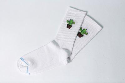 Мужские носки LOMM Premium Кактус белые