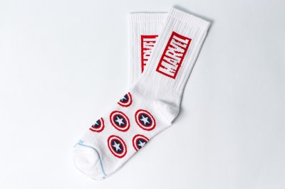 Мужские носки LOMM Premium Marvel. Щит белый