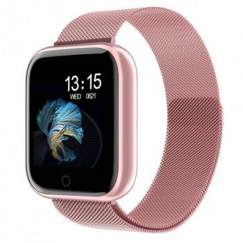 Фітнес браслет, Розумні смарт годинник SENOIX™ T-80S Fit з тонометром і пульсометром (Рожевий)