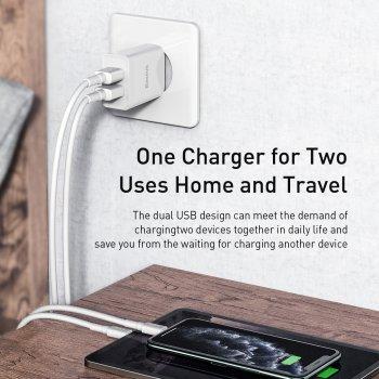 Мережевий зарядний пристрій Baseus Speed Dual Mini U Charger 2USB 2.1 A 10.5 W + Кабель 2.4 A USB to Lightning 1м Білий