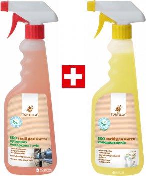 Упаковка засобів Tortilla Екозасіб для миття кухонних поверхонь і стін з антибактеріальною дією 450 мл + Засіб для миття холодильників з антибактеріальною дією 450 мл (4820178063586)