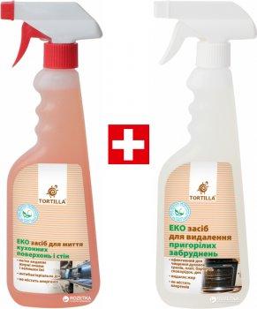 Упаковка засобів Tortilla Екозасіб для миття кухонних поверхонь і стін з антибактеріальною дією 450 мл + Екозасіб для видалення пригорілих забруднень 450 мл (4820178063593)