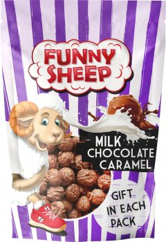 Упаковка повітряних зерен кукурудзи Funny Sheep у карамелі зі смаком молочного шоколаду 90 г х 4 шт. (74820196720118)