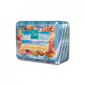 Мыло туалетное твердое Шик 1+1 Beauty с минералами моря, питательным кремом и морской ламинарией 4 шт х 90 г