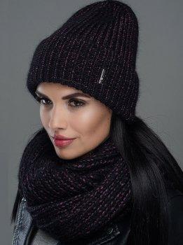 Женская Шапка Leks-Jolie Норма комплект Размер (53-57) Цвет (черный+бордо)