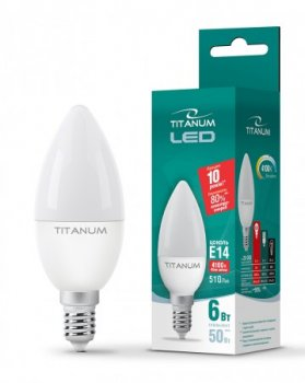 Лампа LED C37 6W E14 4100K 220V, ТL-C37-06144, 24997, Titanum