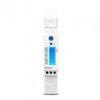 Лічильник електроенергії однофазний DDS238-1 на дін рейку 220В 45А DIN з підсвічуванням дисплея