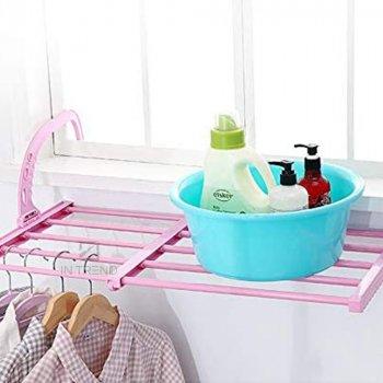 Сушарка балконні полиця для взуття білизни – складна сушарка універсальна підставка з регульованою висотою Multi-functional Balcony Shelf – багатофункціональна пластмасова сушка для одягу та взуття, Рожева