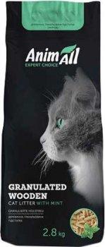 Наполнитель для кошачьего туалета AnimAll с ароматом мяты Древесный комкующийся 2.8 кг (4820224 500423)