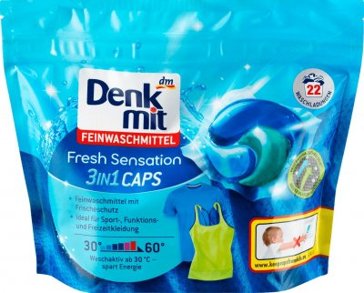 Капсули для прання Denkmit Feinwaschmittel 3in1 Caps Fresh Sensation 22 шт