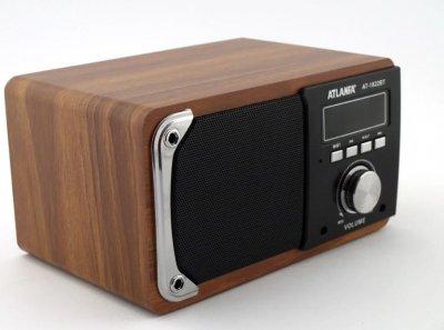 Акустическая система ATLANFA AT-1822BT с радиоприемником + Bluetooth/USB/microSD TF/AUX Коричневая (11730)