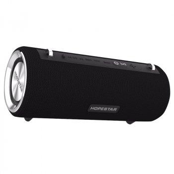 Портативна колонка Hopestar H39 музична з функцією PowerBank і потужним акумулятором - портативна Бездротова акустична блютуз система вологозахищена з басами і вбудованим мікрофоном, Чорний