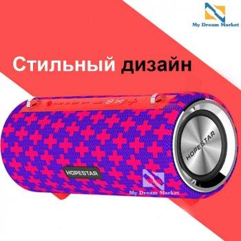 Колонка Hopestar H39 переносна портативна вологозахищена c Bluetooth оригінальна стерео система акустична з хорошим звучанням і басом - акустика з функцією PowerBank, Синьо червона