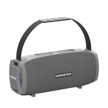 Переносна потужна колонка Hopestar H24 pro портативна USB з гучним звуком + вологозахист IPX6 - Музична акустична система з вбудованим мікрофоном Bluetooth + потужний гучномовець + TWS, Сірий