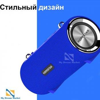 Портативна колонка Hopestar H39 блютуз - вологозахищена ХР6 з потужним акумулятором - музична акустична система портативна бездротова + потужний бас USB + micro SD +AUX, Світло синій