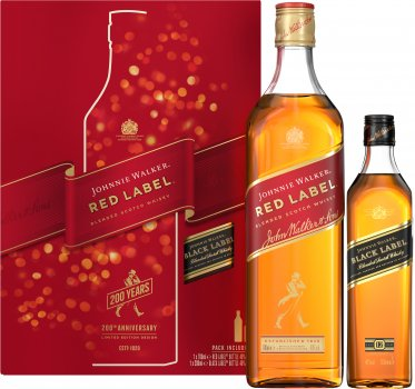 Виски Johnnie Walker Red label 0.7 л 40% в подарочной упаковке + Виски Johnnie Walker «Black Label» 0,2 л (5000267182636)
