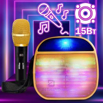 Колонка Wireless A25 Портативна переносна ЮСБ з мікрофоном - гучний звук для телефону, комп'ютера, ноутбука - Музична USB акустична стерео система зі світлом + роз'єм під флешку + Bluetooth + AUX + карта пам'яті, Золотий
