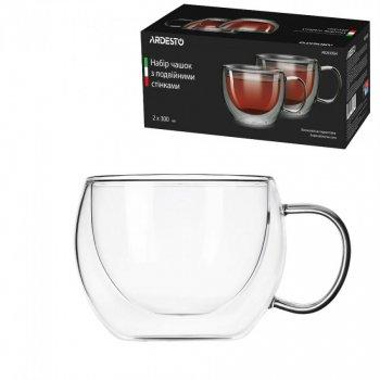 Набор чашек Ardesto с двойными стенками 300 мл h- 7,5 см 2 шт боросиликатное стекло -20 до + 150°C AR2630GH