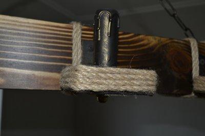 Дерев'яна люстра WML масивний брус на 6 ламп
