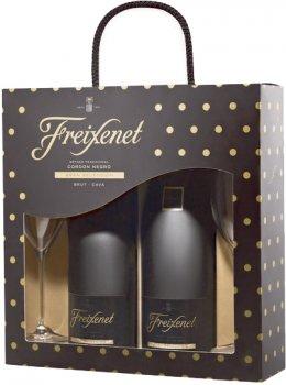 Вино игристое Freixenet Cava Cordon Negro белое брют 0.75 л 11.5% 2 шт + 2 бокала (8410036029968)