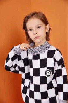 Светр з шаховим принтом Manan чорний/білий (T3668)