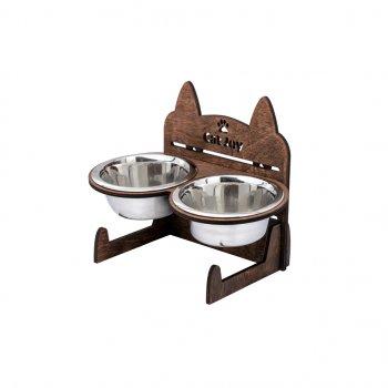 Миски для кошек и котов на подставке (кормушка) из нержавеющей стали CatJoy c регулировкой высоты Дуб