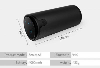 Бездротова Bluetooth колонка Zealot S8 Original з функцією Power Bank + зручний чохол кріплення з карабіном для носіння з собою і для велосипеда Чорна