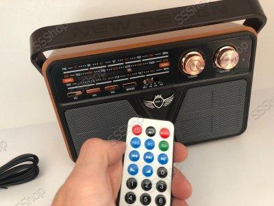 Радіоприймач Bluetooth акумуляторний з пультом управління радіо Kemai (РЕТРО-507-BT) з ручкою