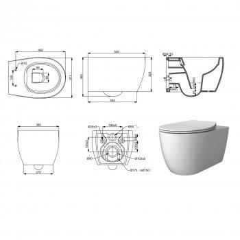 Унітаз підвісний DEVIT Acqua з сидінням Soft Close дюропластів (3020155)