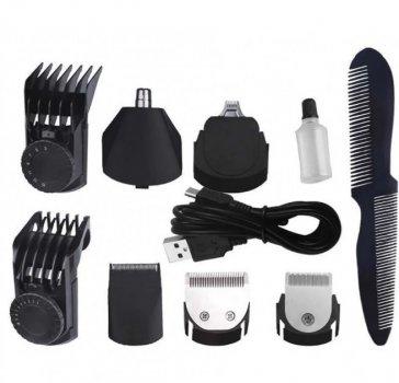 Машинка для стрижки волос и бороды 7в1 DSP 90208 Plus Pro бритва триммер Черный + Расческа