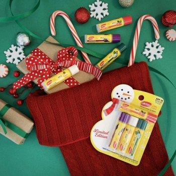 Набор Бальзамов для губ в стике Carmex Moisturizing Limited Edition Holiday Pack Lip Balm SPF 15 Рождественские ягоды, Сахарная слива, Ванильный капкейк, Зимняя мятная конфета 4x4.25 г