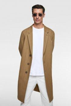 Пальто Zara темно-бежеве однобортне демісезонне (0706 369 707)
