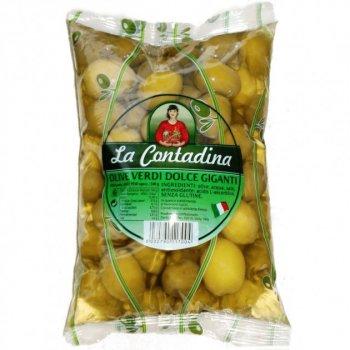 Гигантские оливки зеленые с косточкой La Contadina olive verdi dolce giganti 850 г
