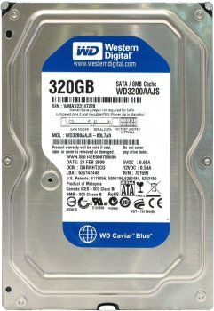 "Жорсткий диск Western Digital 320ГБ 7200об/м 8МБ 3.5"" SATA II (WD3200AAJS)"