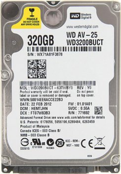 "Жорсткий диск Western Digital 320ГБ 5400об/м 16МБ 2.5"" SATA II (WD3200BUCT)"
