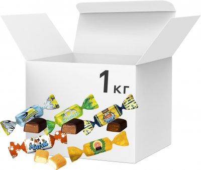 Упаковка конфет Bayan Sulu Помадное ассорти: Ромашка, Юнга, Лимонный, Ласточка, Матис 1 кг (2220100001304)