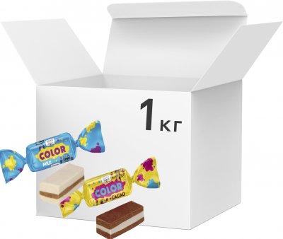 Упаковка конфет Bayan Sulu Color ассорти: Color cacao и Color milk 1 кг (2220100001247)