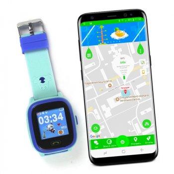 Дитячі водонепроникні смарт-годинник з GPS JETIX DF25 Aqua (Light Strap) Blue + Захисне скло