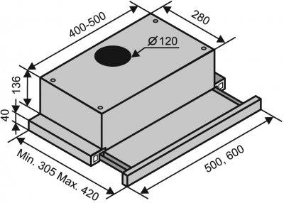 Вытяжка VENTOLUX GARDA 60 BK (450)