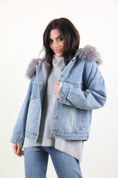 Куртка жіноча M.J. 1021 штучне хутро (Синій)