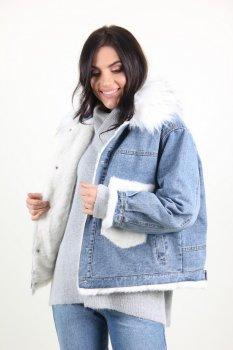 Куртка жіноча Джинс Yuyanfushi 9870 штучне хутро (Білий)
