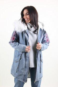 Куртка женская Джинс Lingjeer 6056 с мехом внутри (Синий )