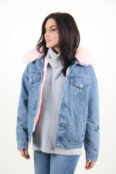 Куртка жіноча M.J. 1511 з хутром всередині (Синій)