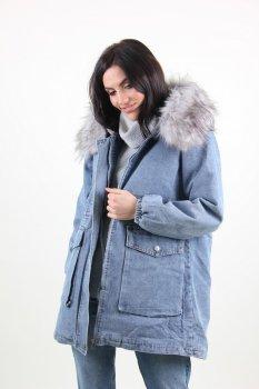 Куртка женская M.J. 1113 с мехом внутри (Синий )