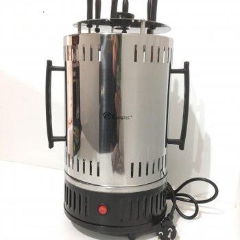 Электрошашлычница Domotec 1000ват, 6 шампурів неіржавіюча сталь, Чорна