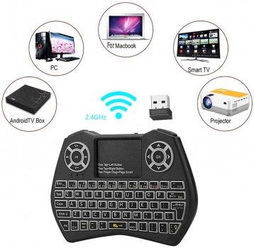 Беспроводная русская мини клавиатура с тачпадом Horton i9 с Подсветкой