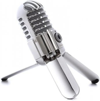 Микрофон конденсаторный Samson Meteor MIC с USB подключением и разъемом для наушников + подставка и чехол Серебристый