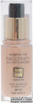 Тональная основа Max Factor Facefinity All Day Flawless 3 в 1 30 мл 45 Светло-бежевый (3614225851582)