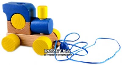 Деревянный паровозик Рудi с веревкой Синий (Ду-01с)